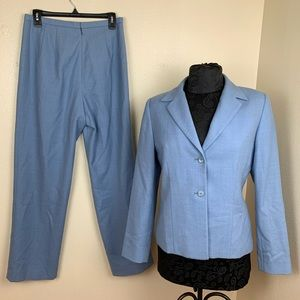Pendleton suit blazer pants blue silk elegant